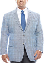 STAFFORD Stafford Bright Blue Plaid Linen-Cotton Sport Coat - Big & Tall