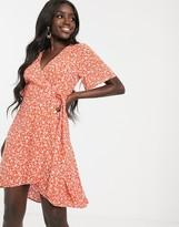 Nobody's Child wrap front skater dress in orange daisy print