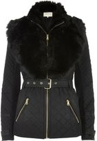 River Island Womens Black padded jacket with faux fur trim
