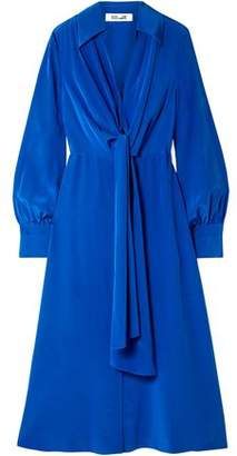 Diane von Furstenberg Von Tie-front Gathered Silk Midi Dress