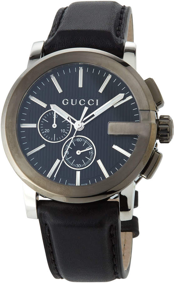 Gucci 44mm Men's G-Chrono Leather Watch