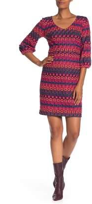Trina Turk Nicole Embroidered 3/4 Sleeve Dress