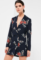 Missguided Petite Exclusive Navy Floral Print Tuxedo Dress