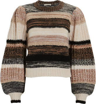 Ulla Johnson Samara Striped Blouson Sleeve Sweater
