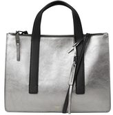 T Tahari Silver East West Leather Tote