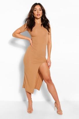 boohoo Jumbo Rib Split Side Mini Dress