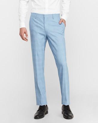 Express Extra Slim Blue Plaid Wrinkle-Resistant Performance Dress Pant