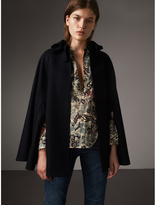 Burberry Ruffle Collar Wool Cape , Size: XS, Blue
