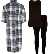 River Island Girls blue check tank and leggings outfit