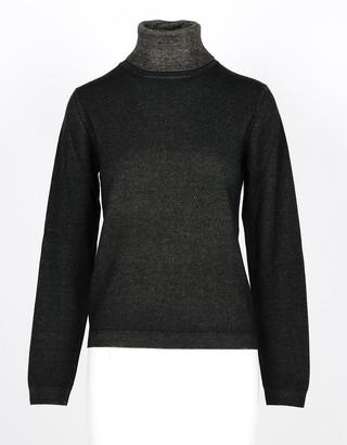 Lamberto Losani Green Wool, Silk and Cashmere Blend Women's Turtleneck Sweater