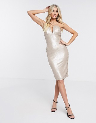 Rare London sequin strapless bodycon dress in white
