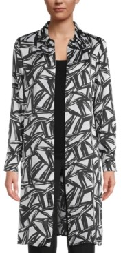 Kasper Abstract-Print Shirt Jacket