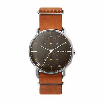 Skagen Men's Stainless Steel Quartz Watch with Leather Strap Brown 22 (Model: SKW6537)