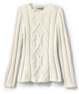 Lands' End Girls Cable Crewneck Sweater-Puppy Sequins