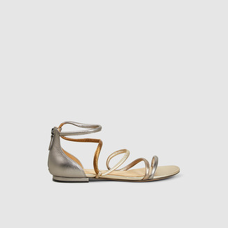 Alexandre Birman Gold Gianny Strappy Flat Metallic Leather Sandals IT 35