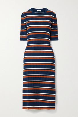 Jason Wu Striped Ribbed Wool-blend Midi Dress - Navy