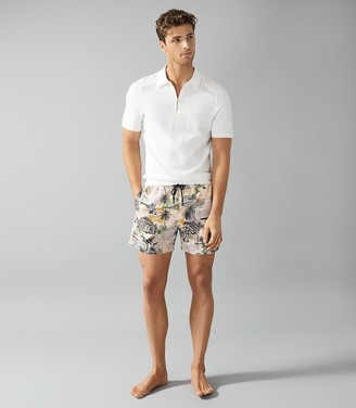 Reiss Richmond - Printed Swim Shorts in Sand