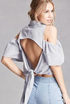 Forever 21 FOREVER 21+ Open-Shoulder Pinstripe Top
