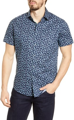 Stone Rose Slim Fit Short Sleeve Button-Up Performance Shirt