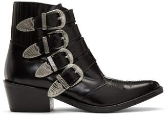 Toga Pulla Black Four Buckles Ankle Boots