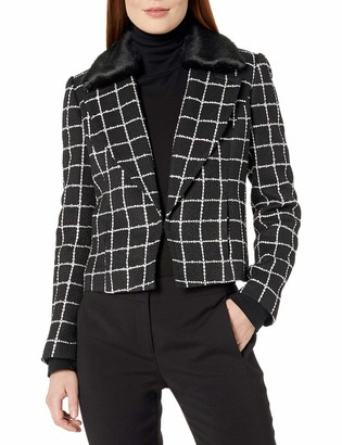 Nine West Women's Tweed Kiss Front Jacket with Faux Fur Collar