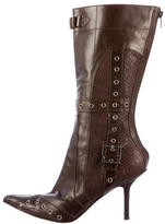 Christian Dior Snakeskin-Trimmed Leather Boots
