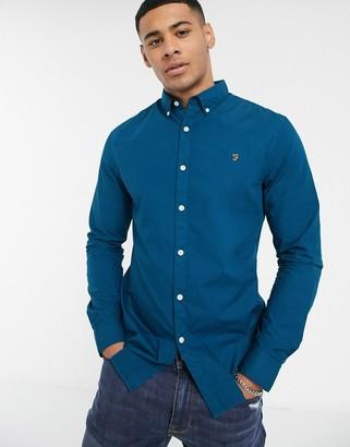 Farah Farley button down collar poplin shirt in blue