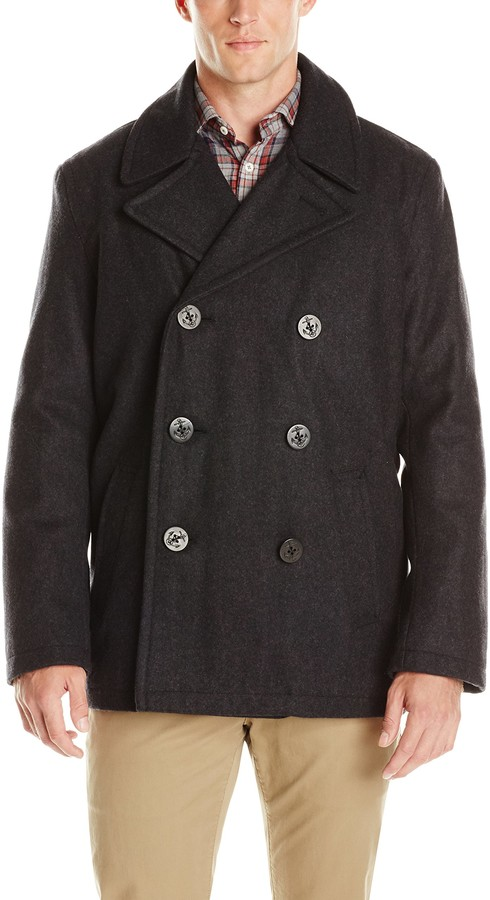 Wool Melton Classic Peacoat Style, Tommy Hilfiger Peacoat With Hood