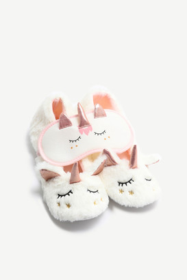 Ardene Unicorn Slippers & Sleep Mask