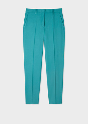 Paul Smith A Suit To Travel In - Women's Classic-Fit Turquoise Wool Pants