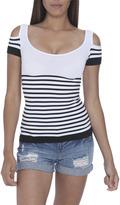 Arden B Cold Shoulder Stripe Top