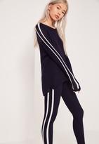 Missguided Stripe Raglan Sweater Navy