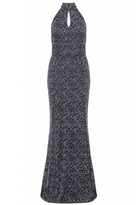 Quiz Grey Glitter Lace High Neck Fishtail Maxi Dress