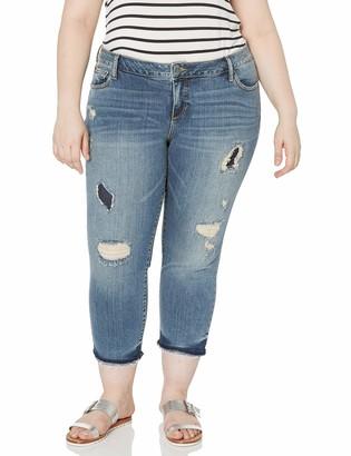 SLINK Jeans Women's Plus Size Destroyed Boyfriend Jean