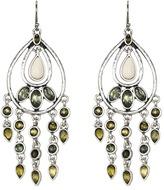 Lucky Brand Beachwood Canyon Green Oblong Earrings (Silver) - Jewelry