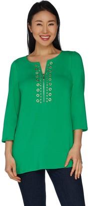 Belle By Kim Gravel TripleLuxe Knit Embellish Top with Zipper