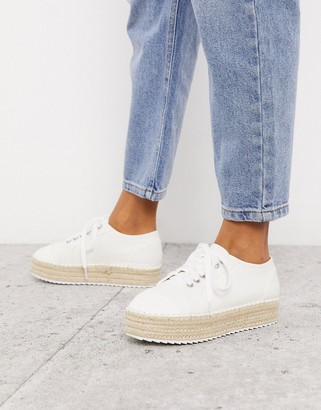 ASOS DESIGN January lace up espadrille sneakers in white