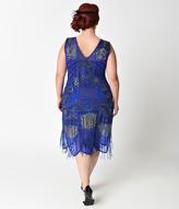 Unique Vintage Plus Size 1920s Style Royal Blue Beaded Fringe Bosley Flapper Dress