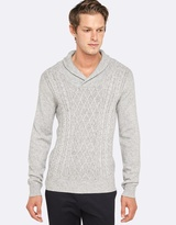 Oxford Ajax Cable Front Shawl Collar Knit
