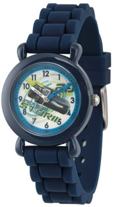 Disney Cars 3 Jackson Storm Boys' Blue Plastic Time Teacher Watch, Blue Silicone Strap