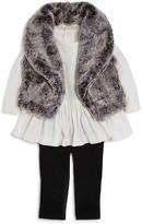 Miniclasix Girls' Faux-Fur Vest, Drop-Waist Tunic & Leggings Set