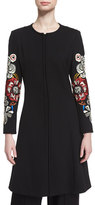 Etro Flared Topper Coat w/Embroidered Sleeves, Black