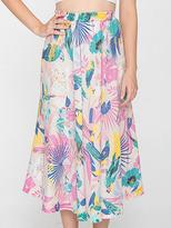 American Apparel Vintage Tropical Print Mid-Length Skirt