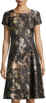 Lafayette 148 New York Cory Watercolor-Print A-line Dress, Chestnut