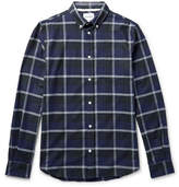 Norse Projects Anton Button-down Collar Checked Cotton-flannel Shirt - Midnight blue