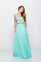 Milano Formals - Two Piece Beaded Crop Top Evening Gown E2144