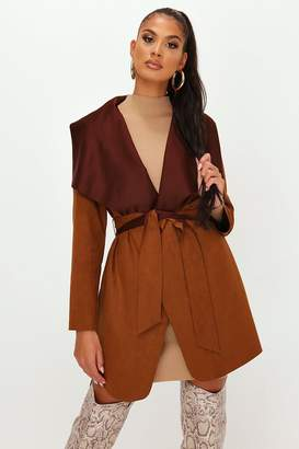 I SAW IT FIRST Stone Suede Waterfall Belted Jacket