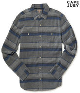 Aeropostale Mens Cape Juby Striped Flannel Button Down Gray
