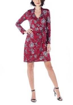 24seven Comfort Apparel Women's Long Sleeve Wrap Dress