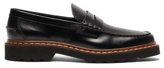 Tod's Logo Debossed Leather Penny Loafers - Mens - Black